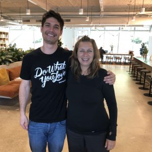 WeWork's Cameron Perry and Wendy Louise Nog, Founder of Future Bright, in WeWork Mill Valley